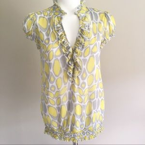 I•N•C Women's Lined Yellow/Gray Blouse